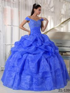Off The Shoulder Beading Blue Organza Pick Ups Military Dresses