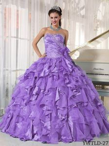 Beading Ruched Sweetheart Ruffled Lavender Gown For Military Ball