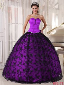 Lace Sweetheart Bowknot Fuchsia Lace Up Back Military Ball Gown