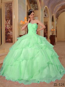 Organza Sweetheart Beaded Apple Green Dresses for the Military