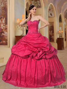 Hot Pink Sweetheart Taffeta Military Ball Attire with Beading