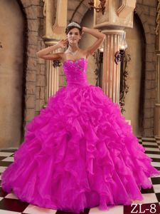Sweetheart Ruffles for Organza Military Ball Dress in Hot Pink