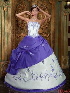 White and Purple Strapless Embroidery Accent Military Ball Gown