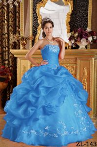 Aqua Blue Strapless Embroidery Military Ball Dresses for Cheap