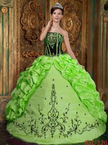 Taffeta Spring Green Military Ball Gown with Embroidery Decorate