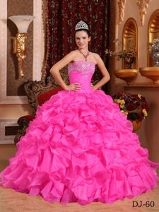 2014 Rose Pink Beading and Appliques for Military Ball with Ruffles