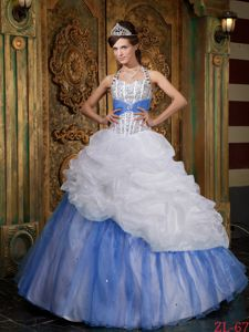 White and Baby Blue Halter Beaded Military Ball Attire A-line Design