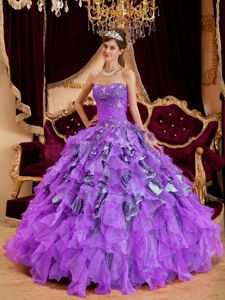 Leopard and Organza Sweetheart Beaded Military Gown in Purple
