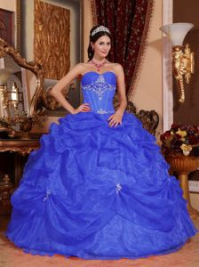 Organza Beaded Military Ball Attire in Blue with Sweetheart Neck
