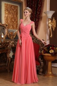 Sheath V-neck Beading Accent for Military Ball Attire in Watermelon