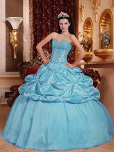 Ball Gown Baby Blue Sweetheart Military Ball Attire Beading Accent