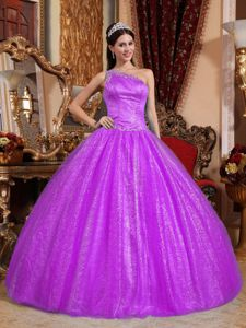 One Shoulder Floor-length Beading Gown For Military Ball in Fuchsia