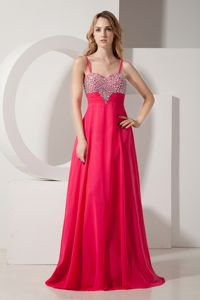 Simple Chiffon Coral Red Military Ball Formal Dress with Straps New York