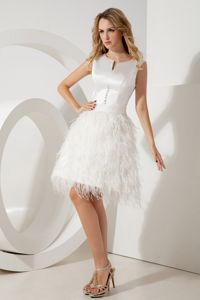 Unique Scoop Taffeta White Military Ball Gown with Feather Bottom