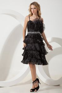Chiffon Black Military Ball Dress with Straps and Ruffled Layers Oklahoma