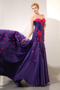 Purple Marine Corps Ball Dress with a Chapel Train and Hand Made Flowers
