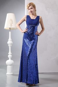 Ohio Elegant Blue Military Ball Attire with Straps in Shinning Fabric