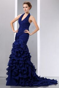 Ruffled Mermaid Halter Top Navy Blue Military Ball Gown with a Court Train