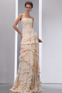 Champagne Military Ball Gown with Ruffled Layers and a Brush Train Chiffon