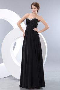 Chiffon Beaded Sweetheart Black Dress For The Military Ball with Ruches