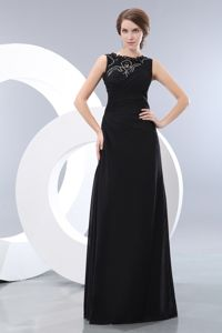 Exquisite Beaded Black Military Ball Attire in Bateau Neckline Taffeta