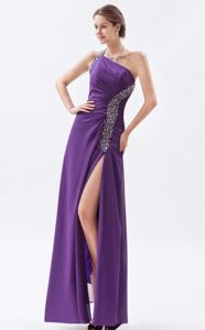 Beaded Chiffon Purple One Shoulder Military Ball Attire with a Side Slit