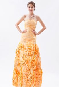 Orange Mermaid Military Ball Gown with Ruches in Special?Embossed Fabric
