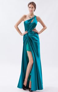 High-low Teal One Shoulder Military Ball Attire with Ruches Maryland