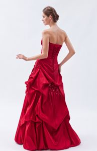 Beaded Taffeta Wine Red Strapless Gown For Military Ball with Pick-ups