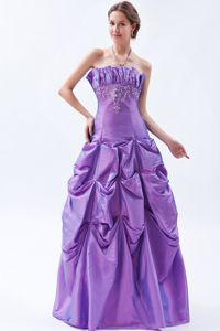 Purple Taffeta Military Ball Gown with Pick-ups in Scalloped Neck