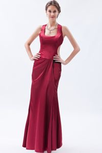 Taffeta Wine Red Military Ball Dress Massachusetts in Square Neckline
