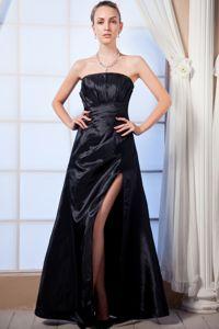 Black Empire Taffeta Gown For Military Ball with a Side Slit and Ruches