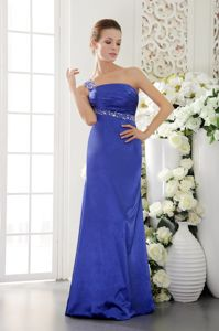 Taffeta Indiana One Shoulder Military Ball Gown in Blue with Beading