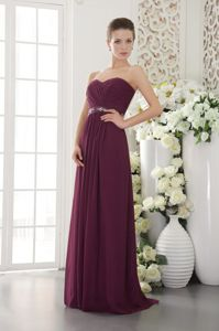 Empire Chiffon Ruched Gown For Military Ball in Sweetheart Dark Purple