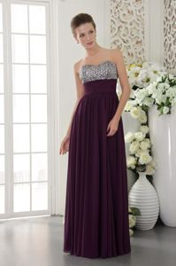 Sweetheart Dark Purple Chiffon Military Ball Gown with a Beaded Bust