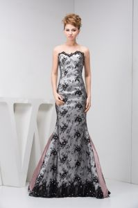Military Ball Dress in Mermaid Sliver Taffeta and Black Lace Cover