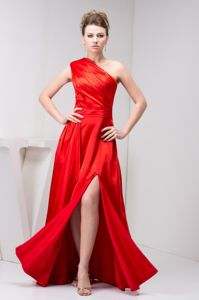Red Taffeta One Shoulder Military Ball Gown with Ruches and a Slit
