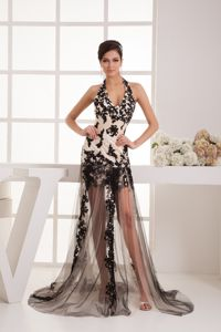 Sexy Nevada Halter Top Military Ball Dress with Black Tulle Lace Cover
