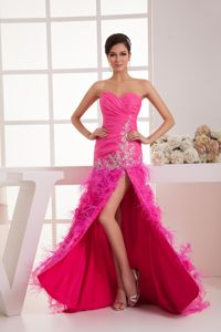 Ruched Sweetheart Hop Pink Military Ball Gown High Slit and Feathers