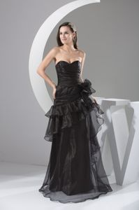Organza Black Sweetheart Military Ball Attire with Ruffled Layers