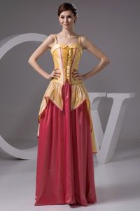 Sexy Minnesota Gold and Watermelon Gown For Military Ball with Straps