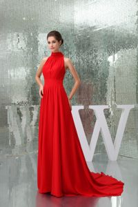 Elegant High-neck Red Dresses For The Military Ball with a Court Train