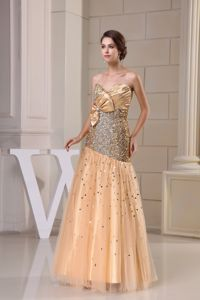 Beaded Gold Sweetheart Military Ball Gown with a Bow Massachusetts