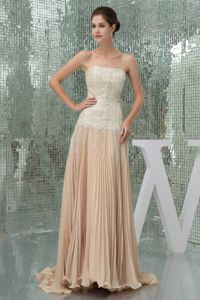 Champagne Ruched Military Ball Gown with Appliques and a Brush Train