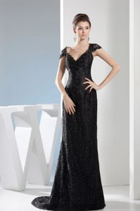 Beaded Black V-neck Military Ball Dress with a Brush Train and Straps