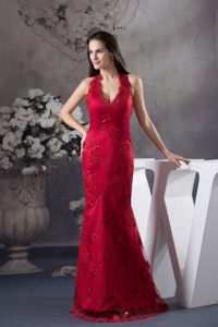Wine Red Mermaid Military Ball Dress with Appliques in Halter Top