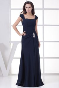 Navy Blue Cheap Military Ball Dress with Straps and Beading New Jersey