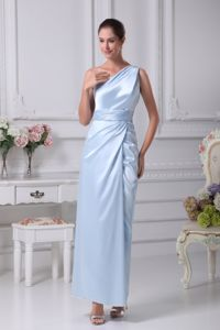 Ruched Ankle-length Light Blue Military Ball Dress in One Shoulder