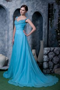 Beautiful Aqua Blue Chiffon Military Ball with Straps and a Sweep Train
