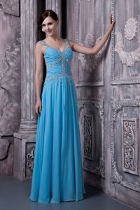 Empire Ruched Aqua Blue Maine Military Ball Gown with Straps in Chiffon